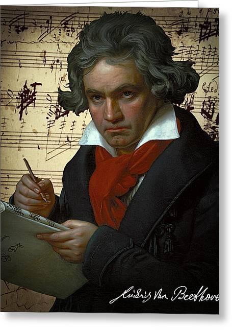 Pianist Mixed Media Greeting Cards - Ludwig Van Beethoven 1820 Greeting Card by Daniel Hagerman