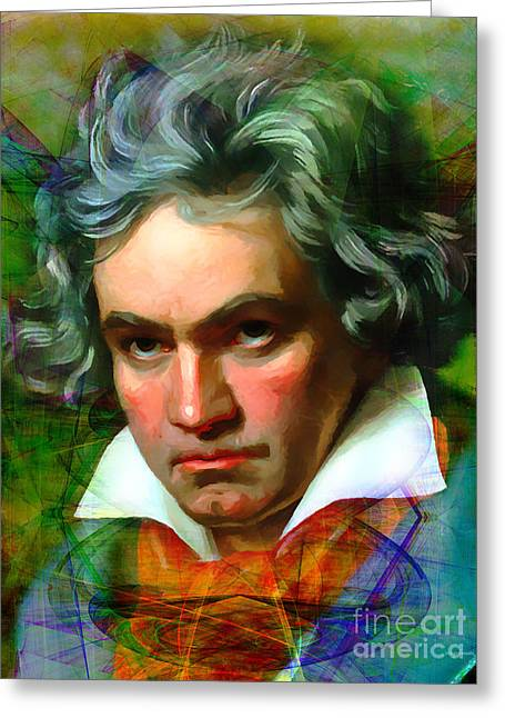 Overture Greeting Cards - Ludwig van Beethoven 20140122v1 Greeting Card by Wingsdomain Art and Photography