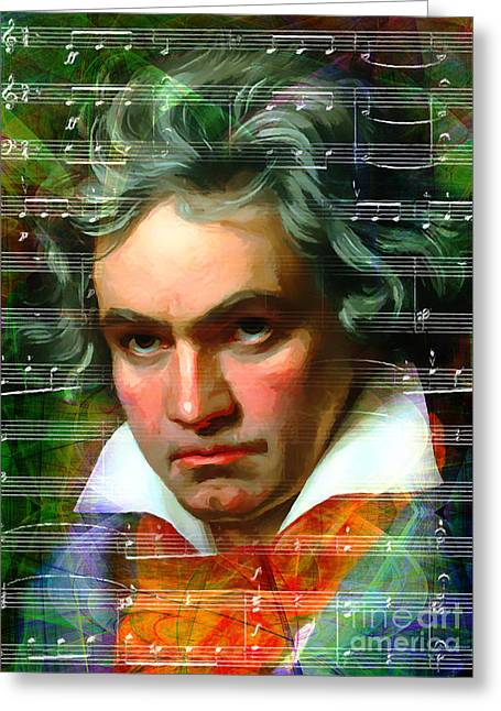 Overture Greeting Cards - Ludwig van Beethoven 20140122v2 dark Greeting Card by Wingsdomain Art and Photography