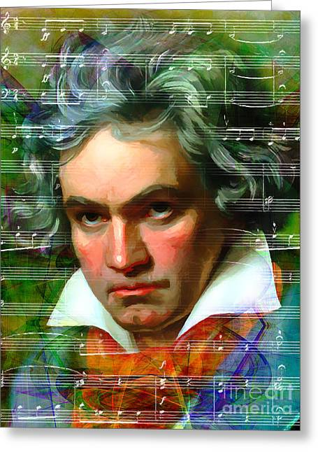 Overture Greeting Cards - Ludwig van Beethoven 20140122v2 Greeting Card by Wingsdomain Art and Photography