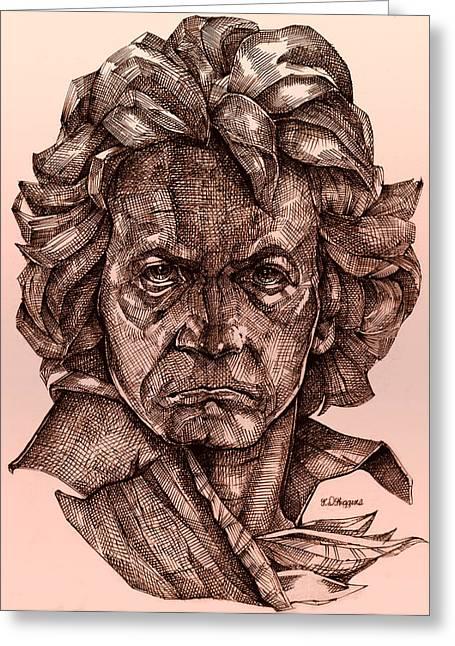 Sepia Ink Greeting Cards - Ludwig van Beethoven Greeting Card by Derrick Higgins