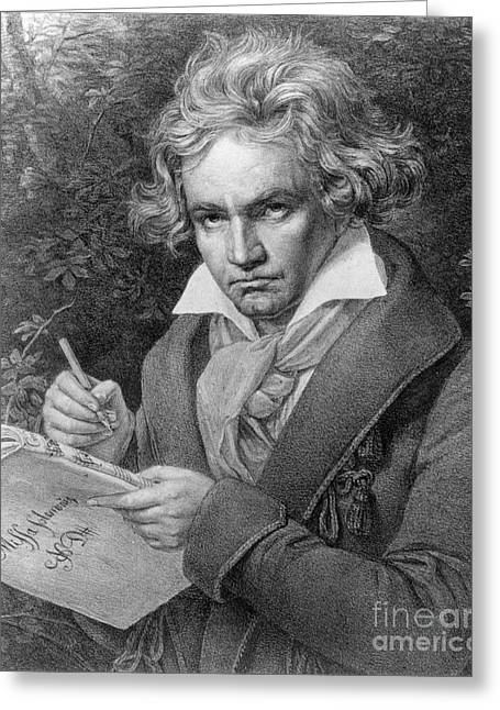Composing Greeting Cards - Ludwig van Beethoven Greeting Card by Joseph Carl Stieler