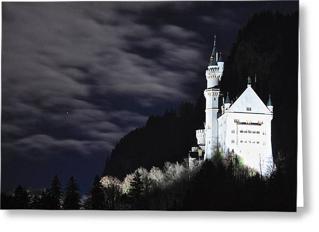 Moonlit Night Greeting Cards - Ludwigs castle at night Greeting Card by Matt MacMillan