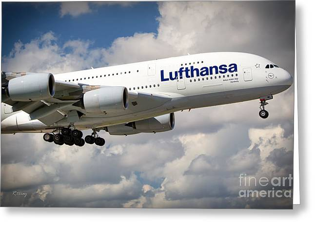 Lufthansa Greeting Cards - Lufthansa A380-800 Hamburg  Greeting Card by Rene Triay Photography