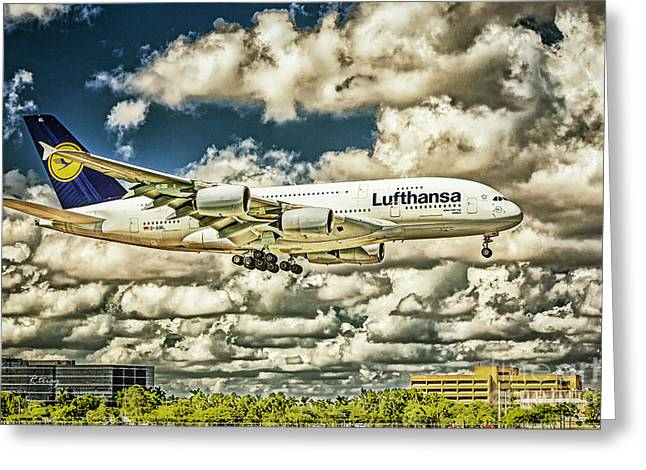 Lufthansa Greeting Cards - Lost in the Clouds Lufthansa A380 Named Hamburg-Colorized Abstract Greeting Card by Rene Triay Photography