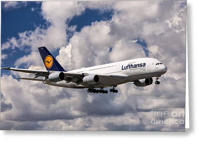 Lufthansa Greeting Cards - Lufthansa A380 Hamburg Greeting Card by Rene Triay Photography