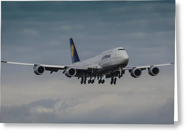 Deutschland Photographs Greeting Cards - Lufthansa Boeing 747 Landing  Greeting Card by Puget  Exposure