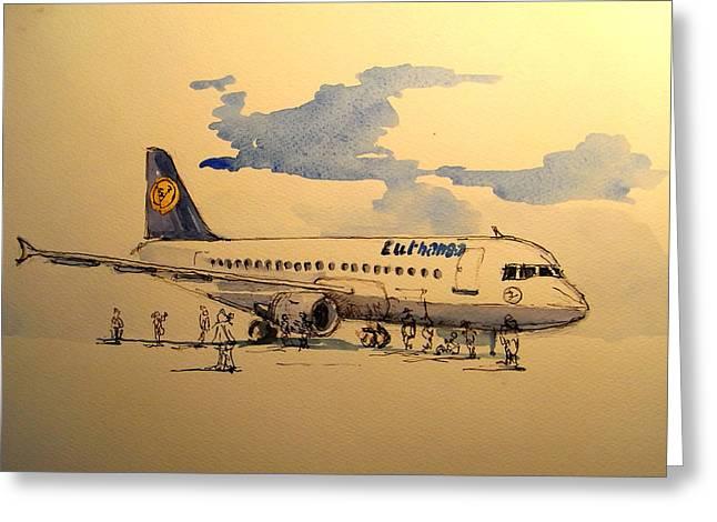 Jet Paintings Greeting Cards - Lufthansa plane Greeting Card by Juan  Bosco