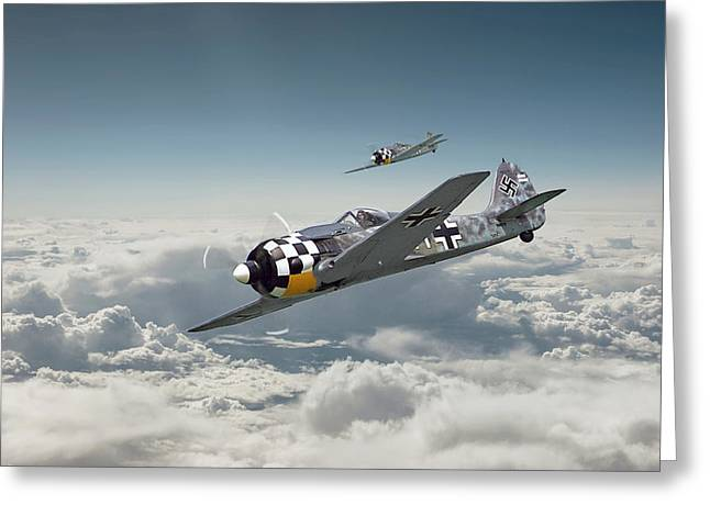 Clouds Scape Greeting Cards - Luftwaffe - FW190 Greeting Card by Pat Speirs