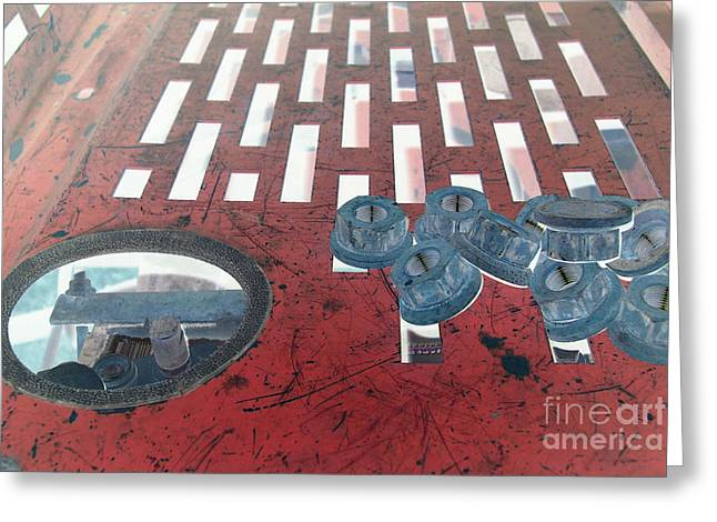 Lugs Greeting Cards - Lug Nuts on Grate and Circle H Greeting Card by Heather Kirk