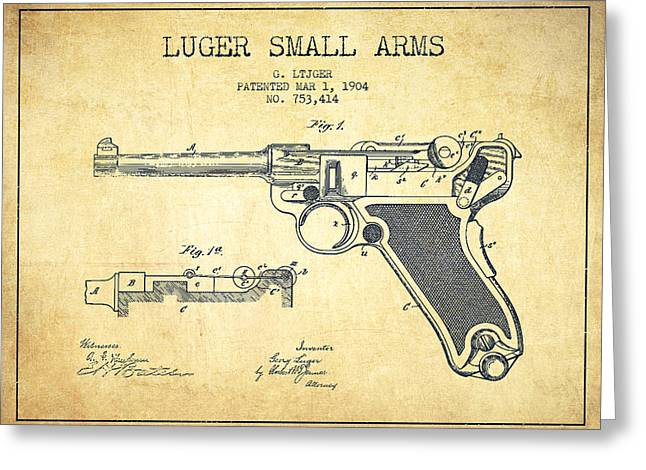 Revolver Greeting Cards - Lugar Small Arms Patent Drawing from 1904 - Vintage Greeting Card by Aged Pixel