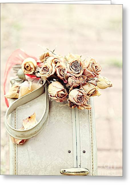 Leather Straps Greeting Cards - Luggage and Dried Roses Greeting Card by Stephanie Frey