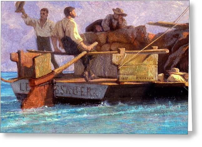 Rudders Greeting Cards - Luggage Boat Greeting Card by F.L.D. Bocion