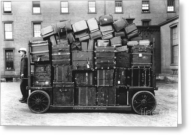 Sociology Greeting Cards - Luggage Cart At Train Station, 1910s Greeting Card by Hagley Archive