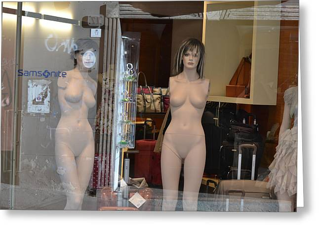 Bill Mock Greeting Cards - Luggage Store Mannequins Greeting Card by Bill Mock