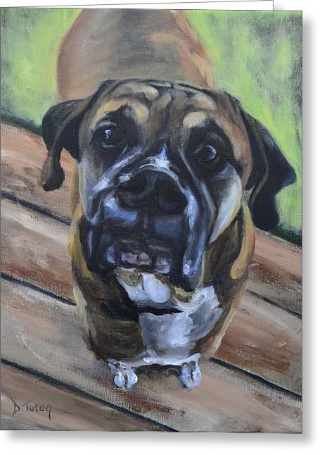 Puppies Paintings Greeting Cards - Lugnut Greeting Card by Donna Tuten