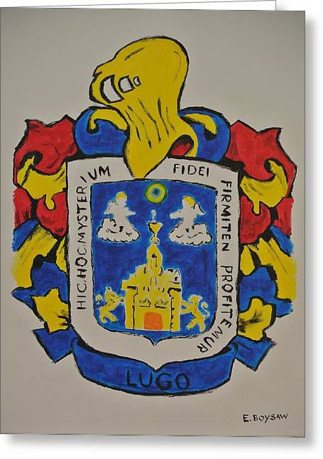 Genealogy Paintings Greeting Cards - Lugo Family Crest Greeting Card by Elise Boysaw