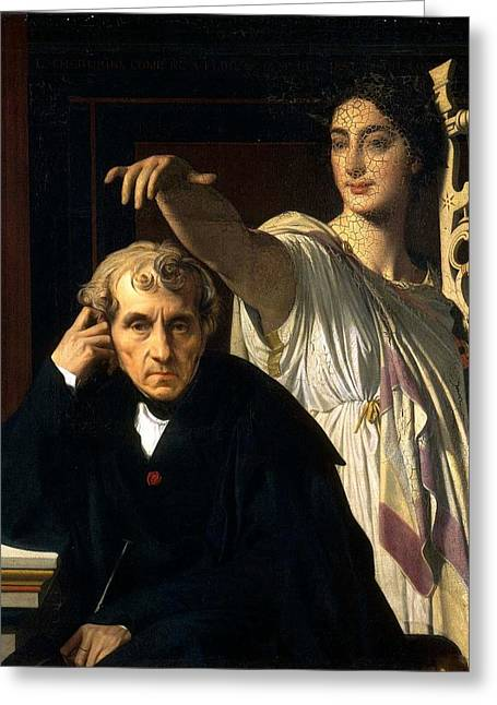 Cherubini Greeting Cards - Luigi Cherubini and the Muse of Lyric Poetry Greeting Card by Jean-Auguste-Dominique Ingres