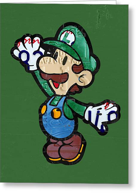 Luigi Greeting Cards - Luigi from Mario Brothers Nintendo Original Vintage Recycled License Plate Art Portrait Greeting Card by Design Turnpike