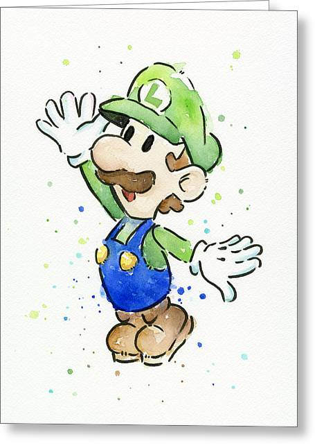 Game Mixed Media Greeting Cards - Luigi Watercolor Greeting Card by Olga Shvartsur