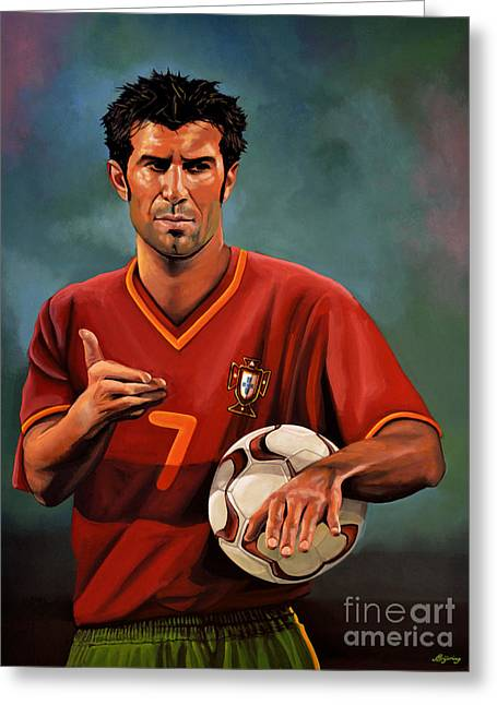 Olympics Art Greeting Cards - Luis Figo Greeting Card by Paul  Meijering