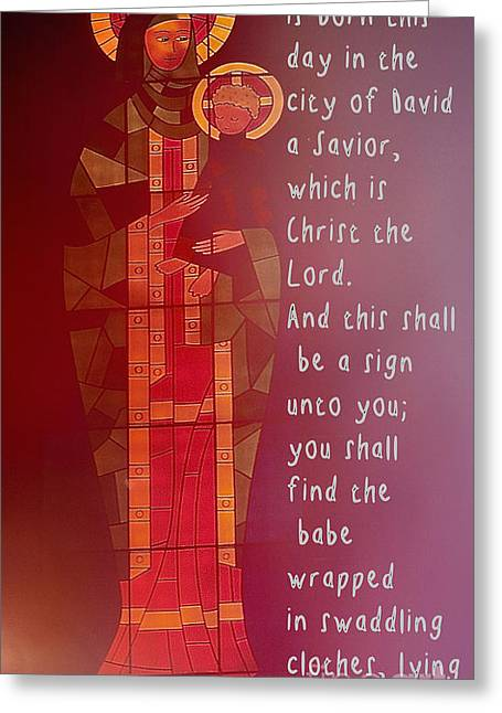 Gospel Greeting Cards - Luke 2   11 - 12 Greeting Card by Sharon Elliott