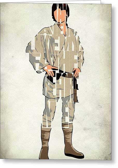 Geeky Greeting Cards - Luke Skywalker - Mark Hamill  Greeting Card by Ayse Deniz