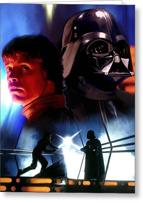 Luke skywalker vs darth vader greeting card by paul tagliamonte