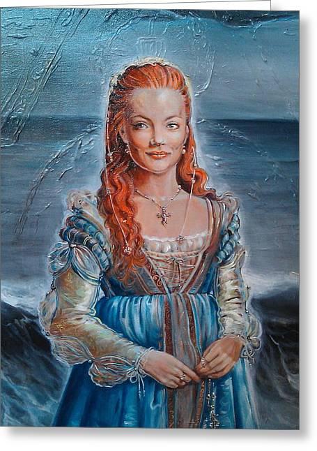 Ottilia Zakany Greeting Cards - Lukrezia Borgia Greeting Card by Ottilia Zakany