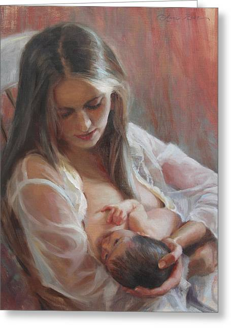Mom Paintings Greeting Cards - Lullaby Greeting Card by Anna Bain