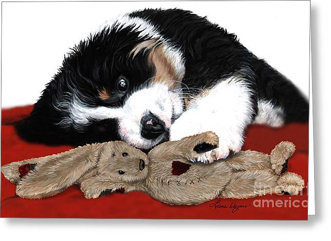 Berner Greeting Cards - Lullaby Berner and Bunny Greeting Card by Liane Weyers