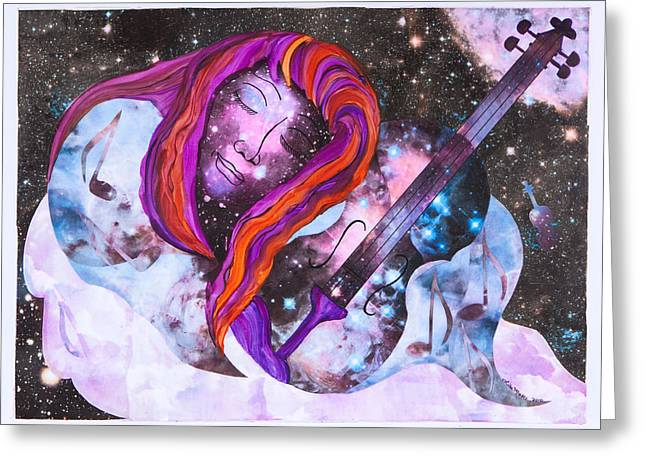 Recently Sold -  - Floating Girl Greeting Cards - Lullaby in Space Greeting Card by Lisa Moses