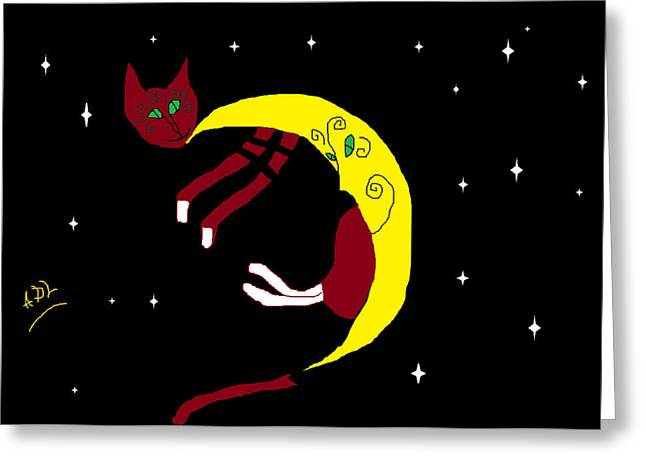 Baby Kitten Art Drawings Greeting Cards - Lulu Slip of a Moon Greeting Card by Anita Dale Livaditis