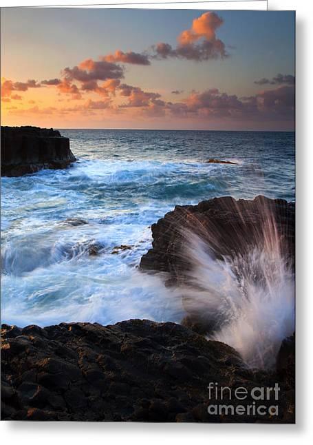 Explosion Photographs Greeting Cards - Lumahai Sea Explosion Greeting Card by Mike  Dawson