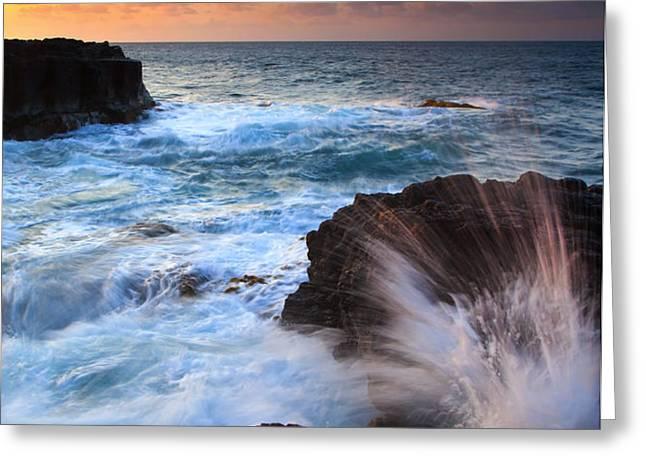 Lumahai Sea Explosion Greeting Card by Mike  Dawson