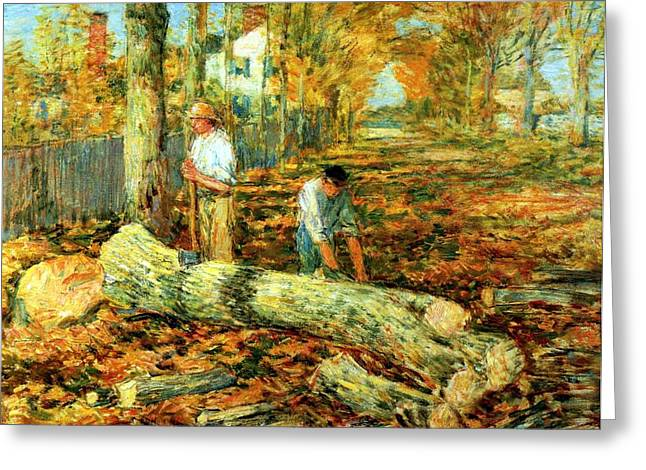 Autumn Scenes Digital Art Greeting Cards - Lumbering 1903 Greeting Card by Frederick Childe Hassam