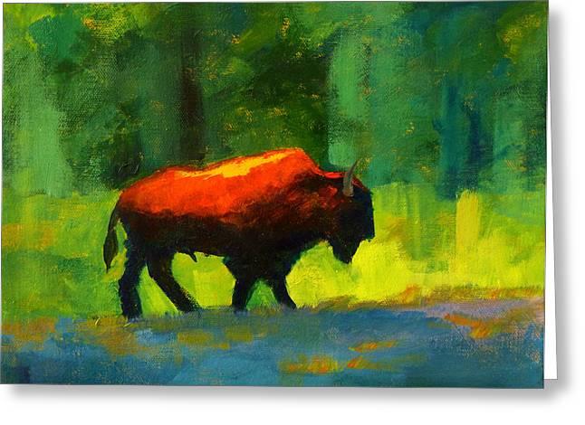 Buffalo Paintings Greeting Cards - Lumbering Greeting Card by Nancy Merkle