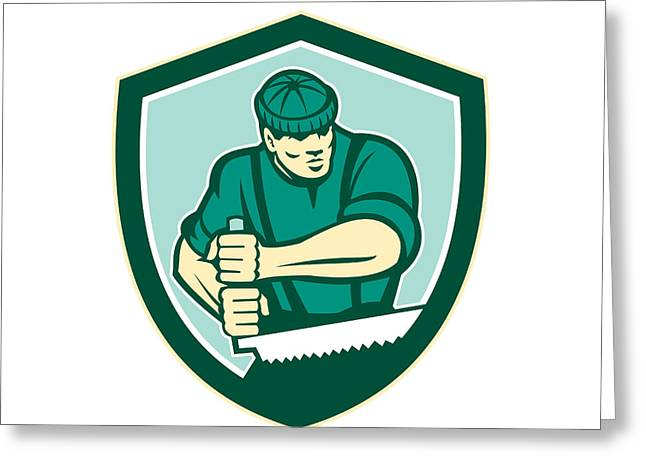 Saw Greeting Cards - Lumberjack Crosscut Saw Shield Retro Greeting Card by Aloysius Patrimonio