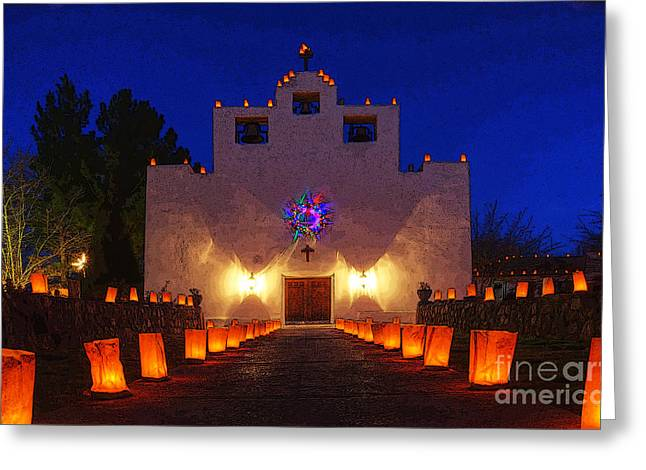 Saint Christopher Photographs Greeting Cards - Luminaria Saint Francis De Paula Mission Greeting Card by Bob Christopher