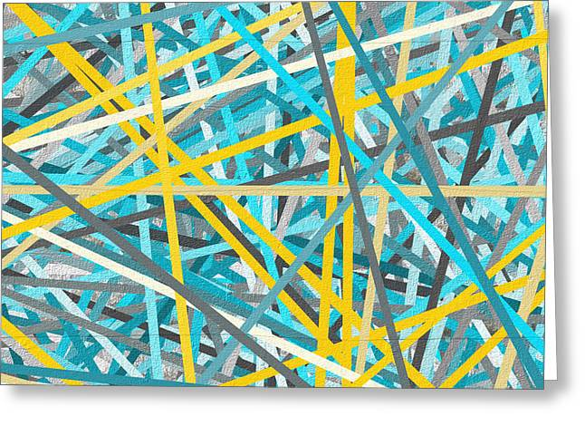 Blues And Yellows Greeting Cards - Luminous Attachment - Yellow And Turquoise Abstract Greeting Card by Lourry Legarde