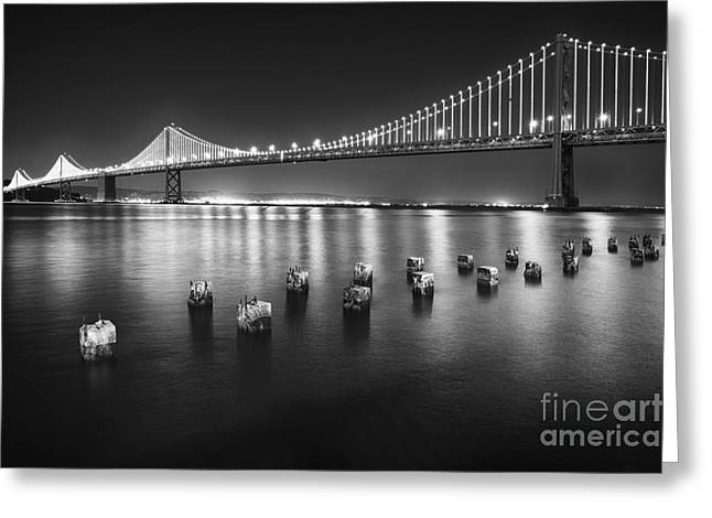 San Fransico Greeting Cards - Luminous Bay Bridge  Greeting Card by George Oze
