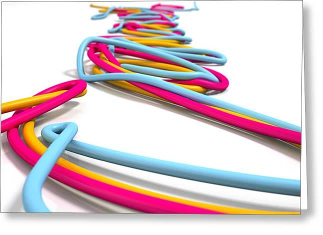 Luminous Cables Closeup Greeting Card by Allan Swart