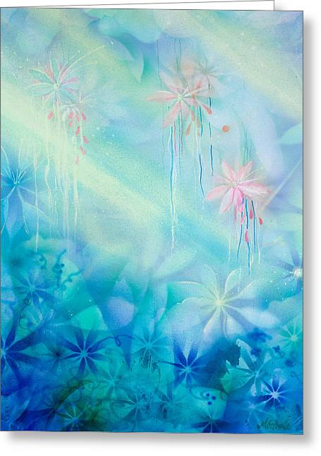Stamen Paintings Greeting Cards - Luminous Garden Greeting Card by Michelle Wiarda
