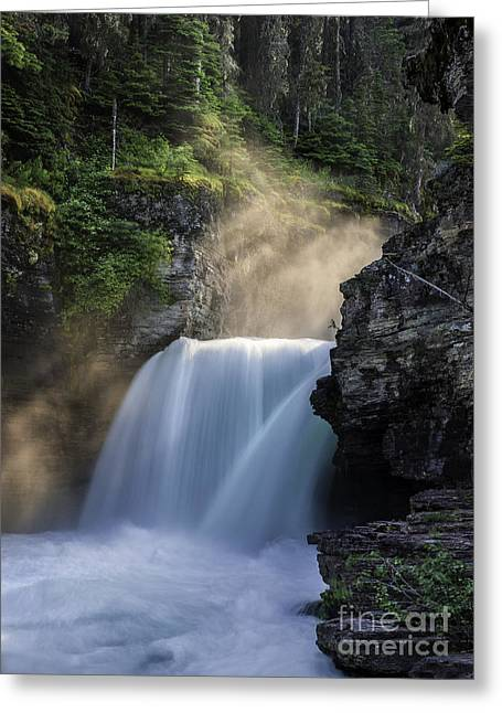God Beams Greeting Cards - Luminous Mist over St Mary Falls - Glacier National Park Greeting Card by Thomas Schoeller