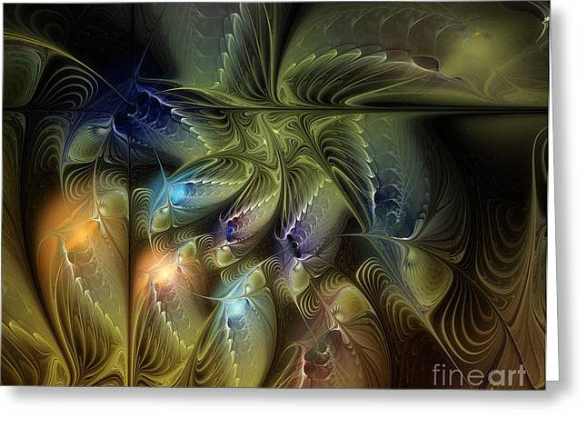 Large Sized Greeting Cards - Luminous Star Greeting Card by Karin Kuhlmann