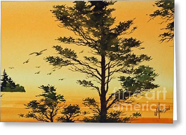 Artist James Williamson Watercolor Greeting Cards - Luminous Sunset Greeting Card by James Williamson