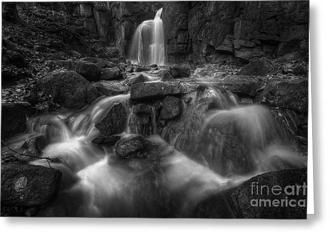 Lumsdale Falls 1.0 Bw Greeting Card by Yhun Suarez
