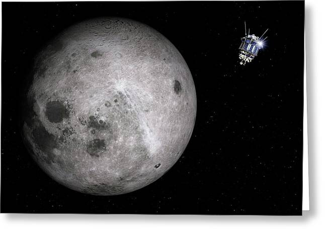Luna 3 Over The Moon Greeting Card by Detlev Van Ravenswaay
