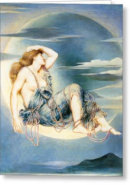 Evelyn De Greeting Cards - Luna Greeting Card by Evelyn de Morgan