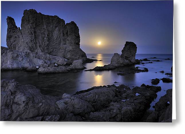 Moon Beach Greeting Cards - Moon Greeting Card by Guido Montanes Castillo